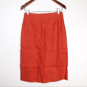 Max Mara Linen Orange Pencil Skirt